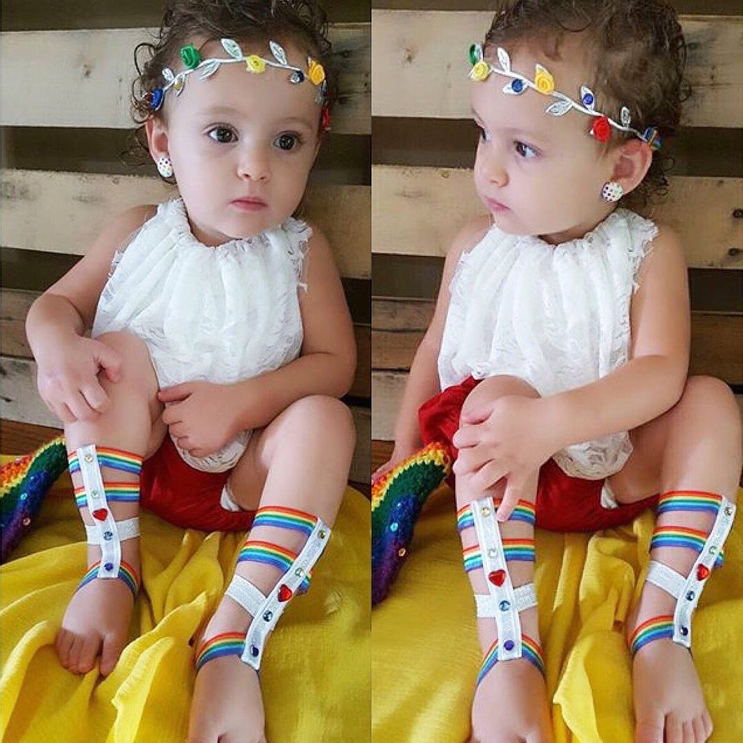 Rainbow barefoot glads and halo set