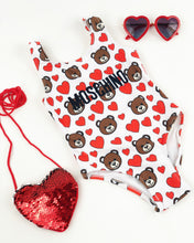 Load image into Gallery viewer, Teddy Bear heart swimsuit/leo