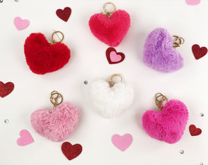 Heart fur keychains (6 colors)