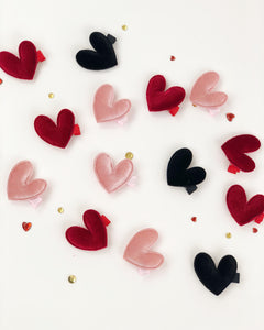 Mini velvet heart clips