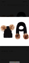 Load image into Gallery viewer, Double fur pom hat and scarf set (4 colors )