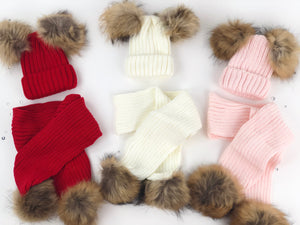 Double fur pom hat and scarf set (4 colors )
