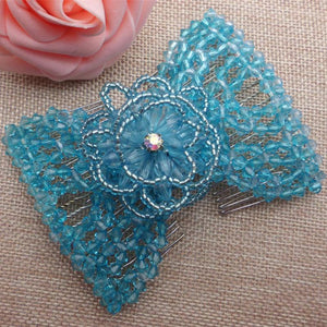 Elastic Beaded Hair Comb Clips (Random Color)