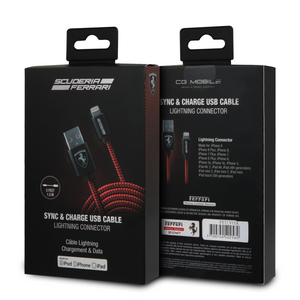 Cable Lightning Tejido 1.5m Ferrari Rojo, iPhone 6,7, 8 , Plus, SE