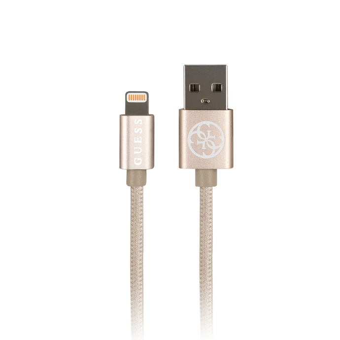Cable Guess Lightning Tejido Dorado Iphone 6,7,8,Plus,X,  SE.