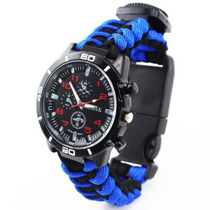 Tools kit Paracord Band Multi-functional Survival Watch Outdoor Camping Compass Thermometer Rescue Paracord Bracelet Equipment - BittyDeal