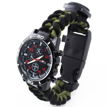 Load image into Gallery viewer, Tools kit Paracord Band Multi-functional Survival Watch Outdoor Camping Compass Thermometer Rescue Paracord Bracelet Equipment - BittyDeal