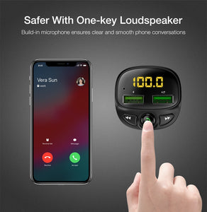 HandFree Car Kit, Bluetooth FM Transmitter + Car Charger, MP3 Player, Dual USB, TF Card - BittyDeal