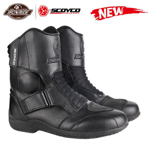 SCOYCO Motorcycle Boots Men Motorcycle Shoes Windproof Botas Moto Motocross Boots Protective Riding Boots 35-46 Autumn Winter - FlexPro