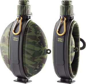 Army Tourist Collapsible Water Bottle, Kettle Canteen with Compass - FlexPro
