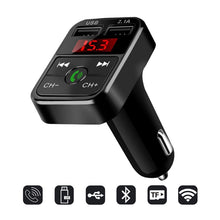 Load image into Gallery viewer, Handsfree Wireless Bluetooth Car  Kit FM Transmitter TF Card LCD MP3 Player Dual USB 2.1A Car Charger Phone Charger Z2 - FlexPro