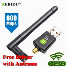 Load image into Gallery viewer, Kebidu AC 600Mbps USB Wifi Adapter, 5/2.4Ghz Dual Band with Antenna, Dongle LAN 802.11ac/a/b/g/n for Windows XP Win 7 10, Mac - FlexPro