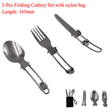 Load image into Gallery viewer, Travel Cutlery Set, Folding, Stainless steel - BittyDeal