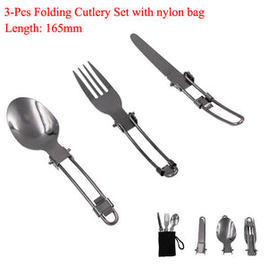 Travel Cutlery Set, Folding, Stainless steel - BittyDeal