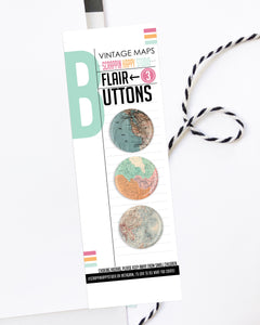 Vintage Maps Flair Buttons