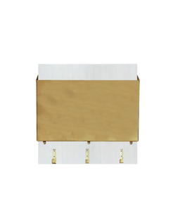 1 Gold file holder mounted on white wood with metal hooks