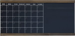 1 Large horizontal 30-day calendar blackboard with wood trim
