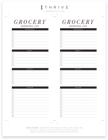 Weekly Grocery List