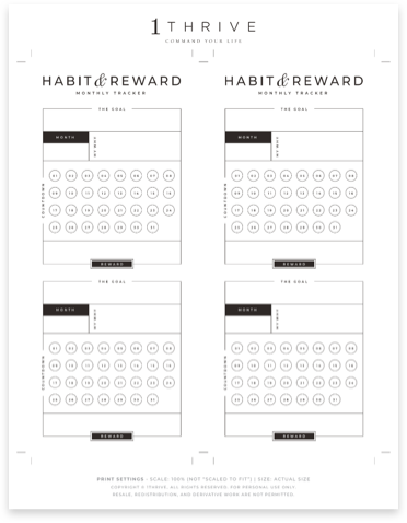 Monthly Habit & Reward Tracker