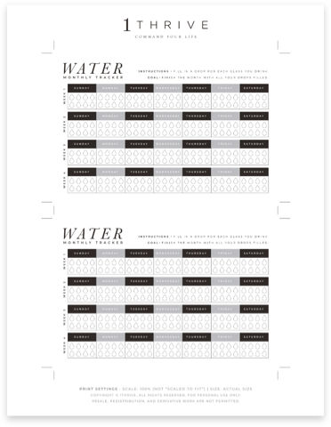 Monthly Water Intake Tracker
