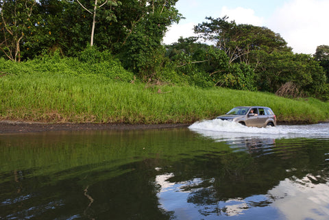 driving across river in Costa Rica