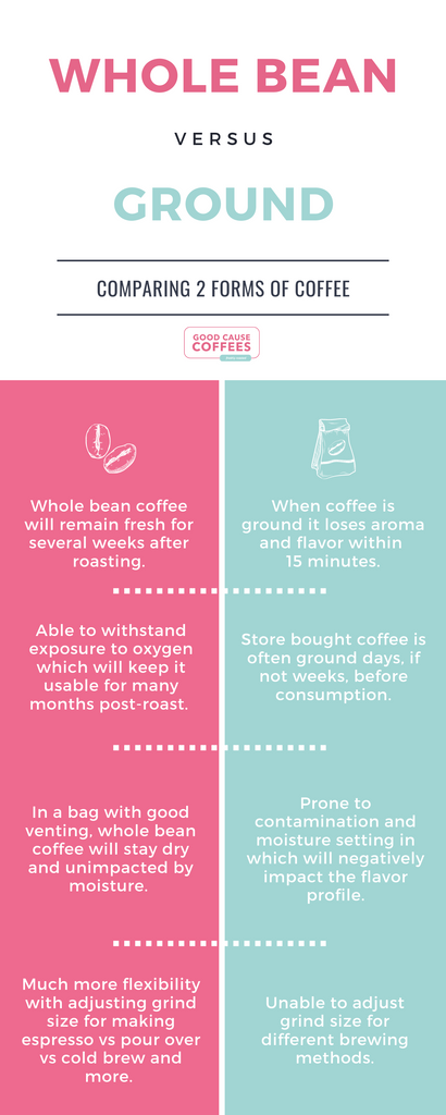 Whole Bean vs Ground Coffee Infographic from Good Cause Coffees