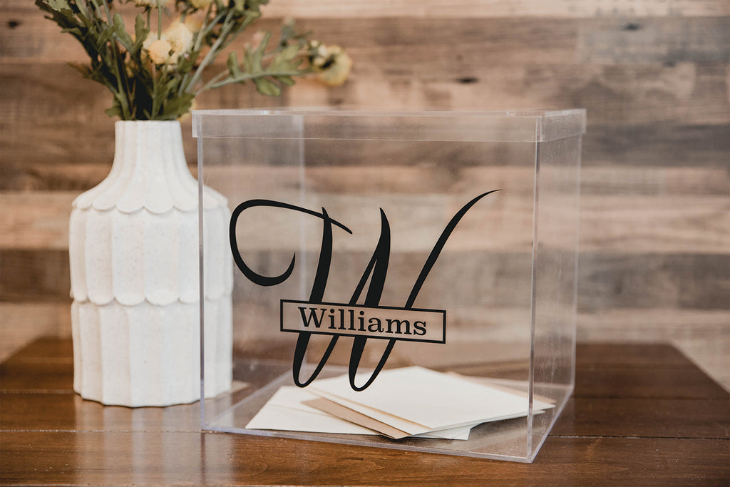 Clear Wedding Card Box Personalized with Last Name and Monogram Initial