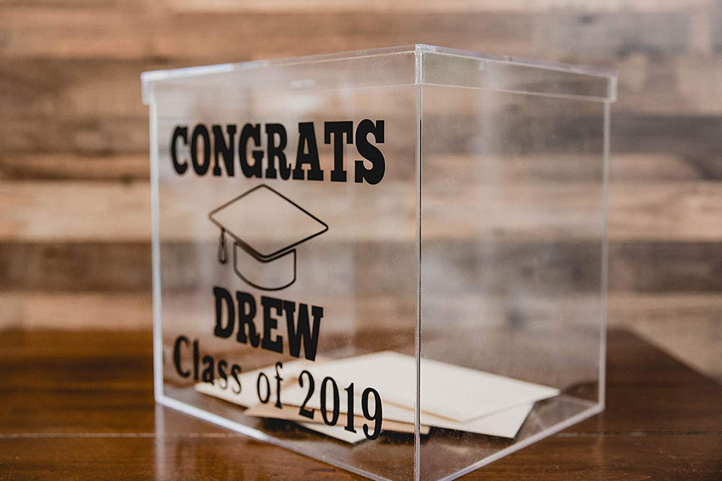 Graduation Clear Card Box Personalized with Name and Class of Year