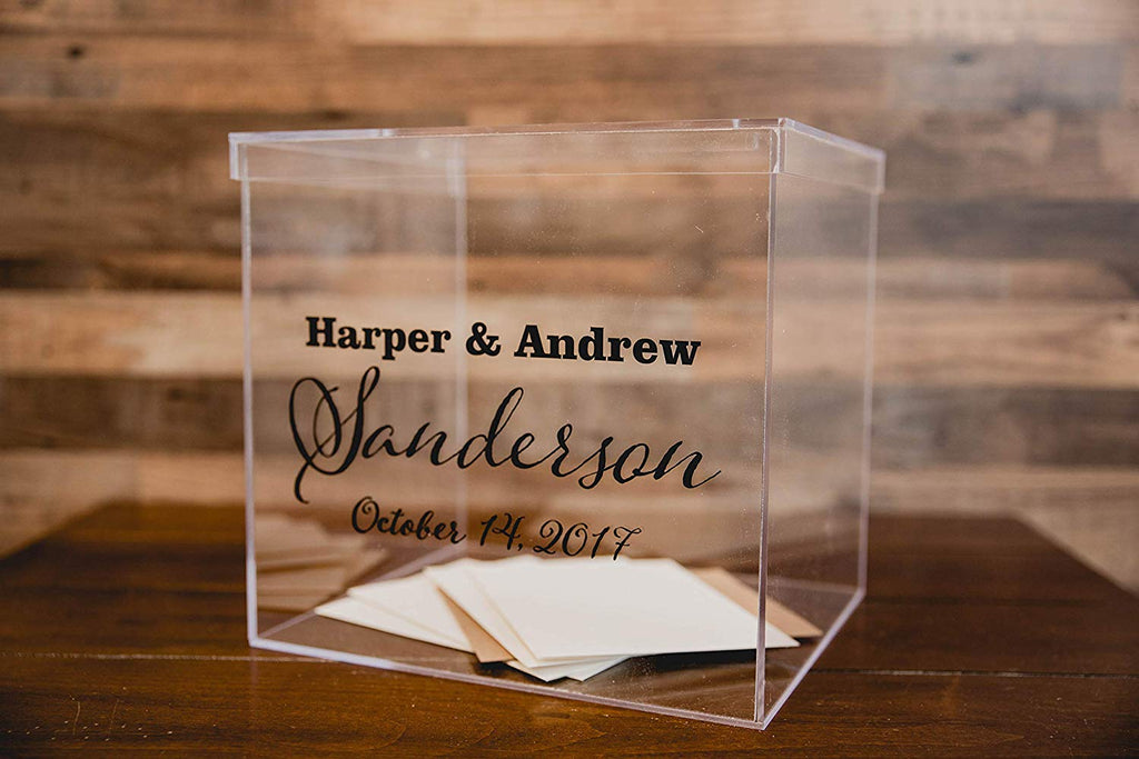 Clear Wedding Card Box Personalized with Names and Date - Acrylic, Card Slot Lid