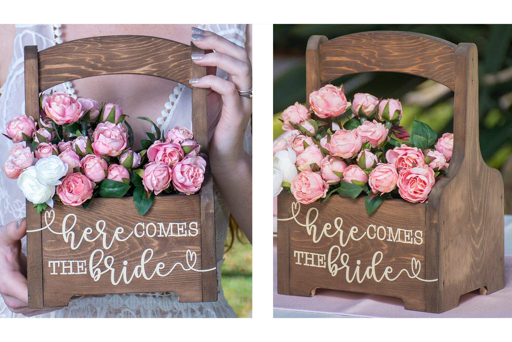 Rustic Wedding Flower Girl Basket Here Comes the Bride Wood Box