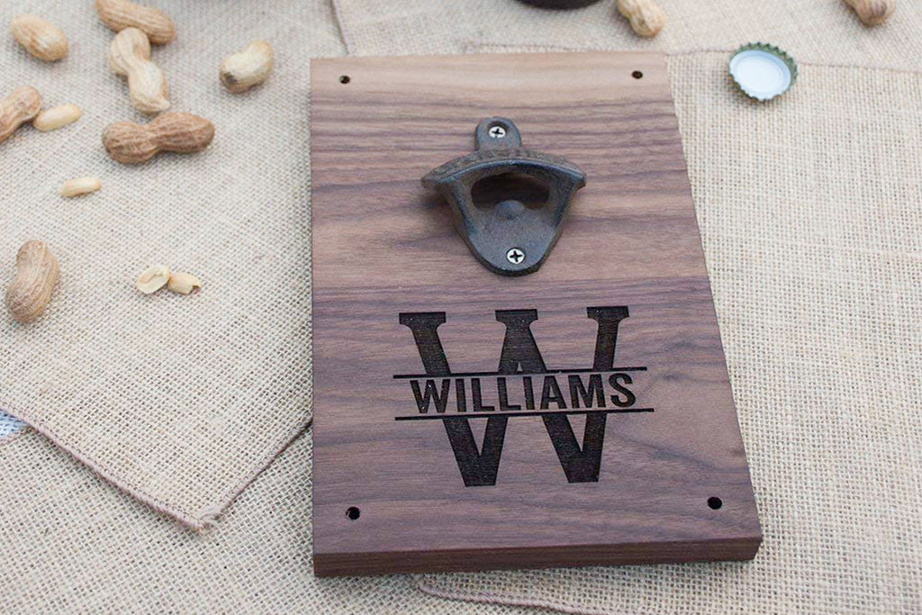 Engraved Walnut Wood Beer Bottle Opener Wall Mount - Personalized Monogram Initial and Name