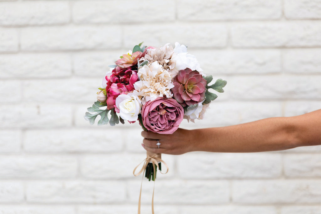 Silk Flower Bouquet Bridal Wedding, Antique Mauve, Dusty Rose, Pink, Beige, Cafe Au Lait, Cream, Succulents