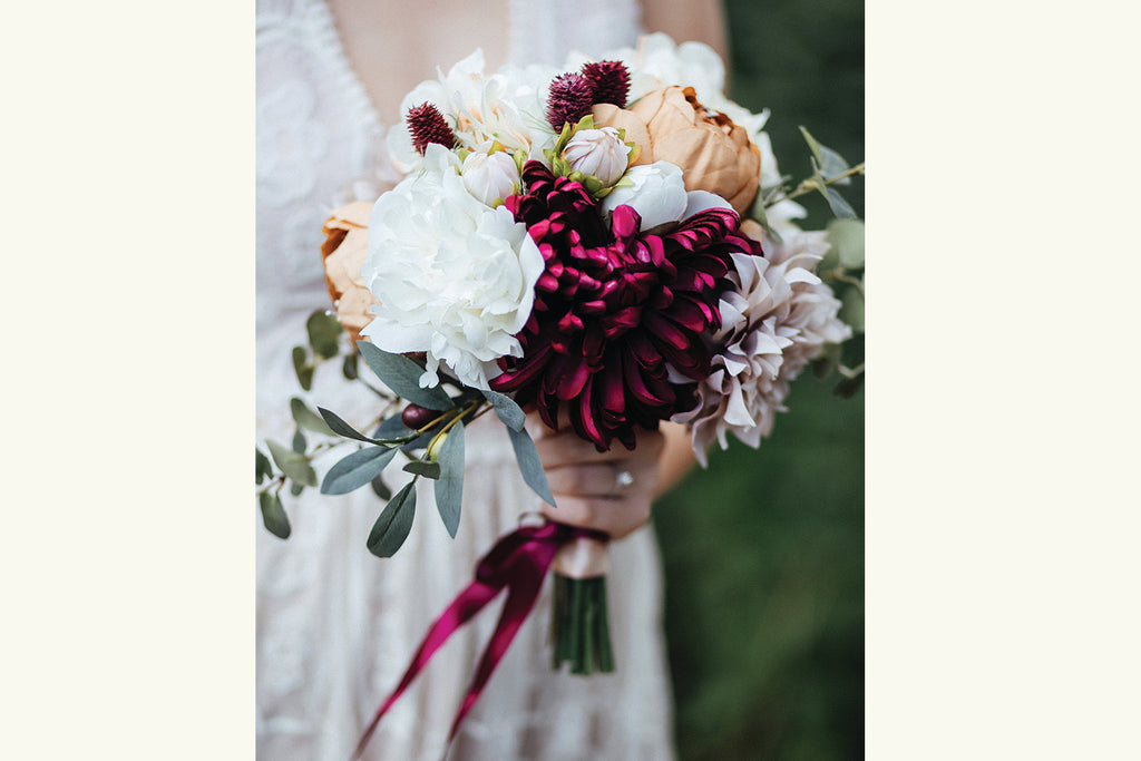 Silk Flower Bouquet Bridal, Autumn Fall Wedding Burgundy, Cream, White, Beige, Cafe au Lait, Eucalyptus, Thistle