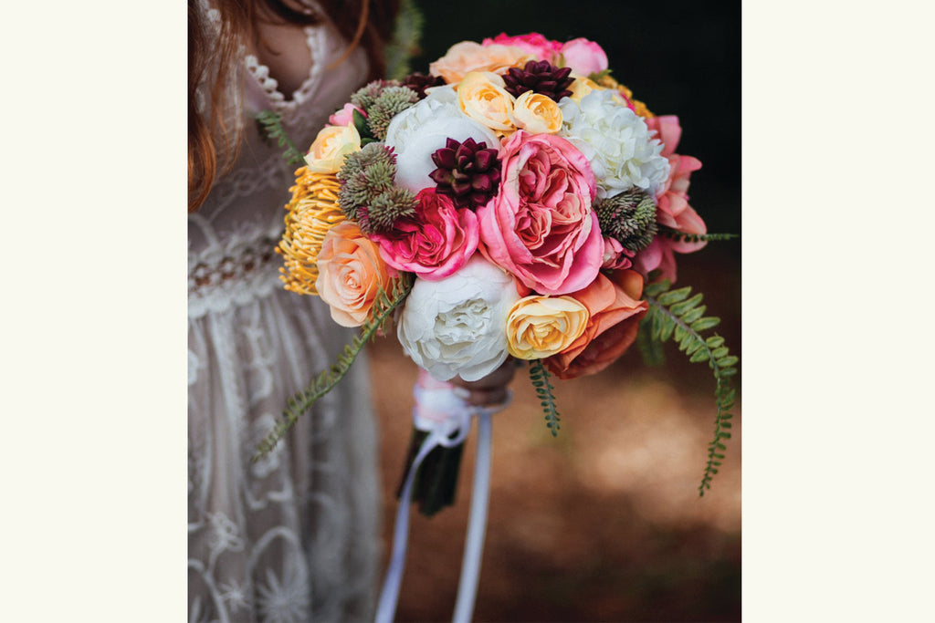 Bright and Vibrant Silk Flower Wedding Bouquet, Tropical Yellow, Pink, Peach, Coral, White, Succulent, Protea, Rose