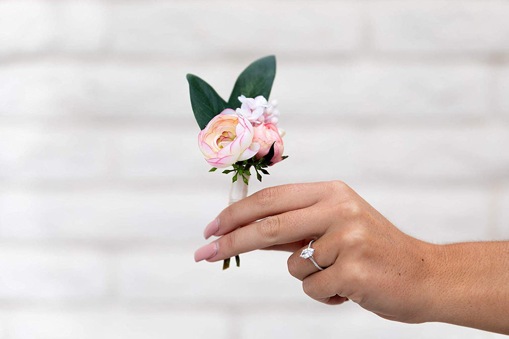 Boutonniere Blush Pink Ranunculus, Rosebud, White Lilac Spray, Seeded Eucalyptus, Groom Groomsmen Wedding