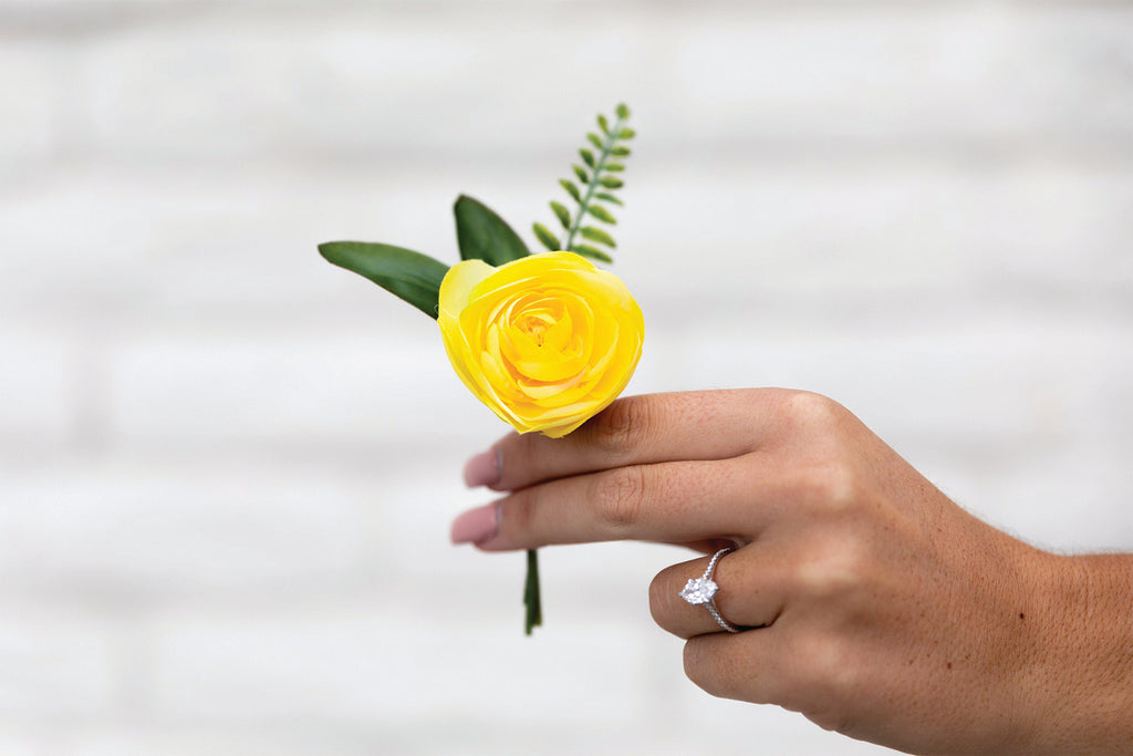 Boutonniere Yellow Ranunculus, Pink Rosebud, Tropical Fern Groom Groomsmen Wedding