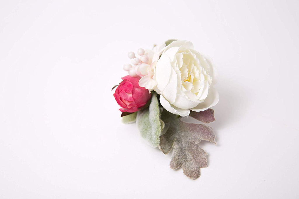 Boutonniere White Ranunculus, Pink Rosebud, Lilac Spray, Groom Groomsmen Wedding