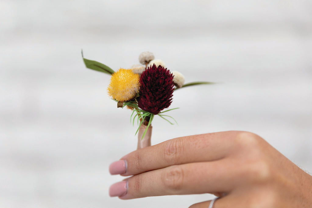 Boutonniere Burgundy Thistle, Yellow Billy Button and Eucalyptus Groom Groomsmen Fall Wedding