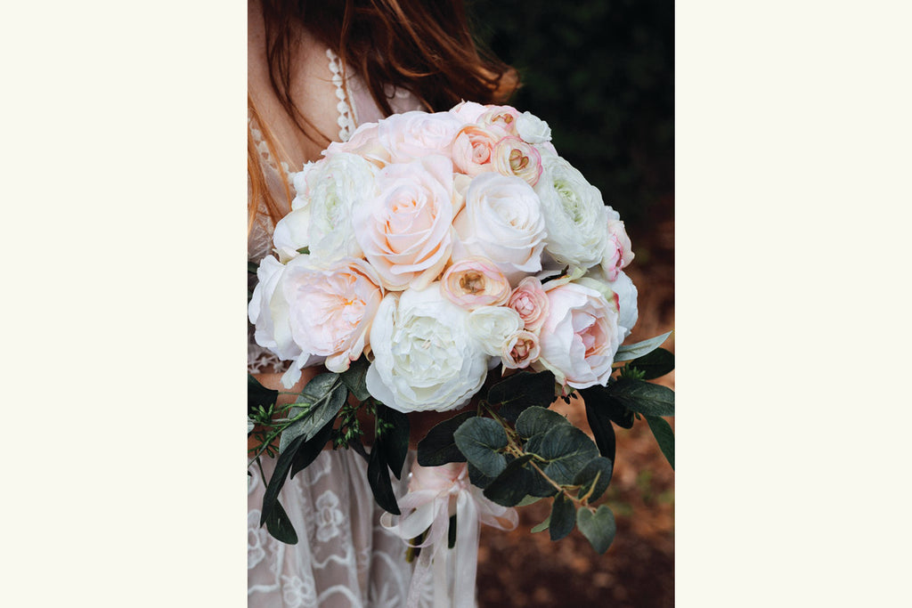 Silk Flower Bouquet Bridal Wedding, Blush Pink, Cream, White, Eucalyptus Greenery