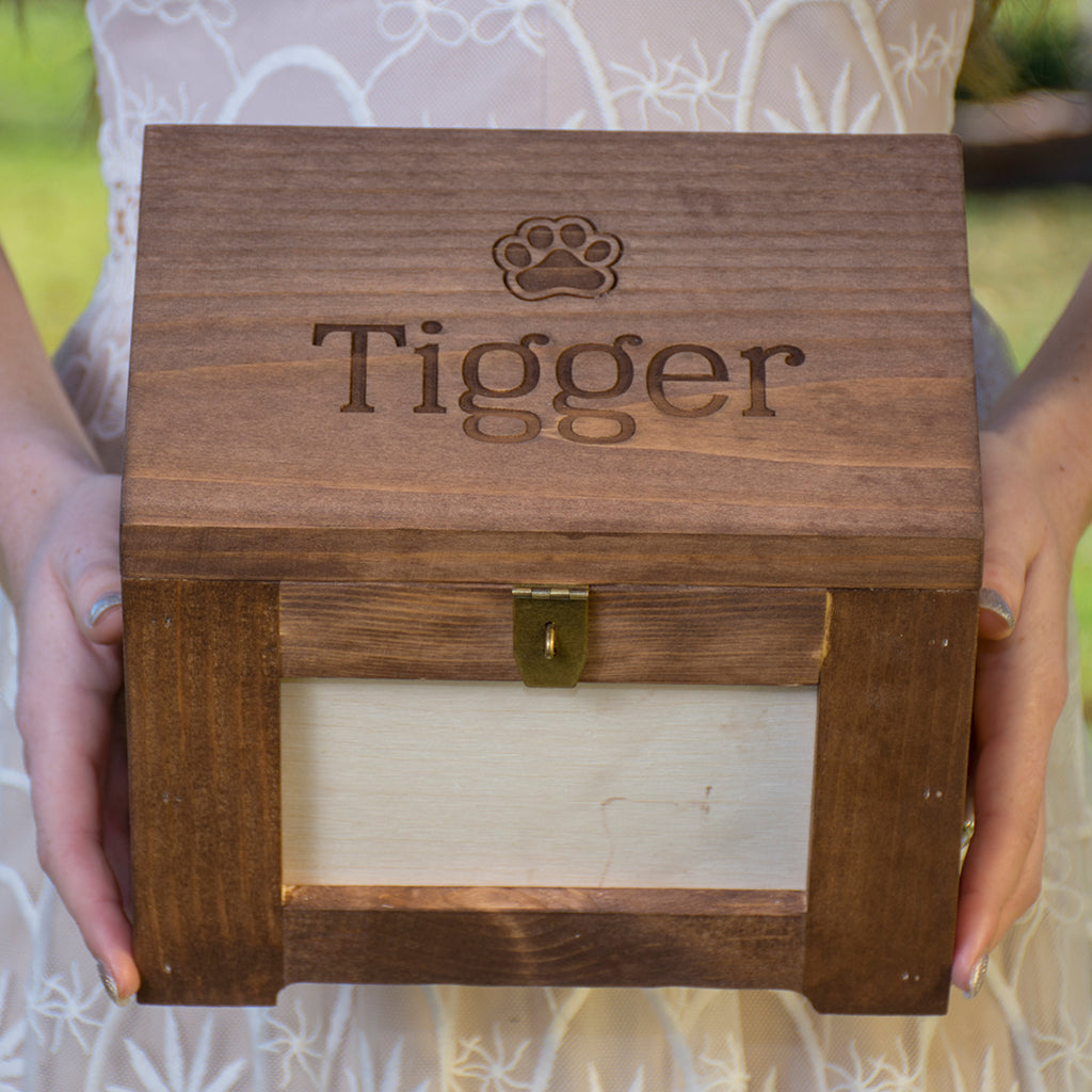 Pet Memory Photo Box/Urn - Name and Cat Paw Print, Personalized