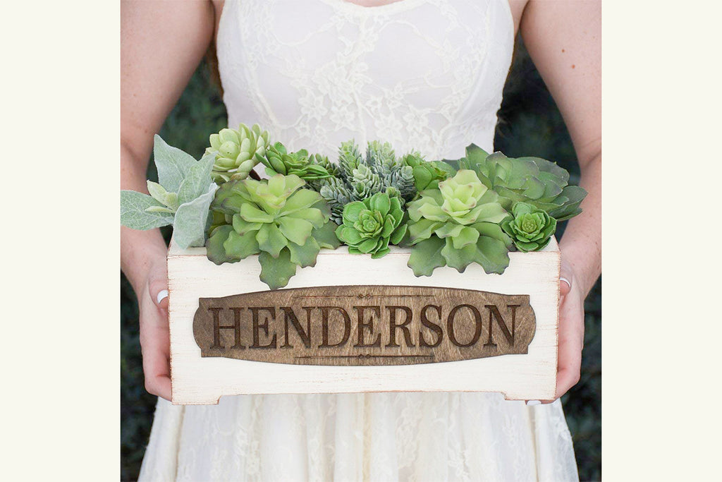 Vintage Style Personalized Planter Box