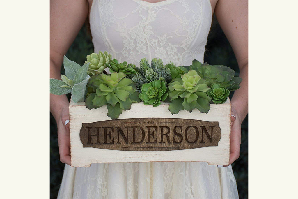 Vintage Style Personalized Planter Box - Client Name