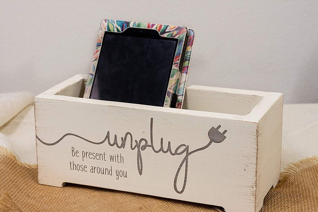 Premium Distressed Unplug Box - Family Cell Phone Holder