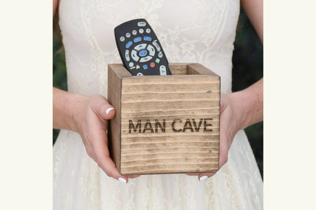 Rustic Wood Personalized Man Cave Box Remote Holder