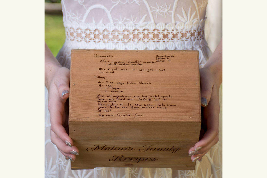 Wood Recipe Box - Engraved with Your Handwritten Recipe, Personalized