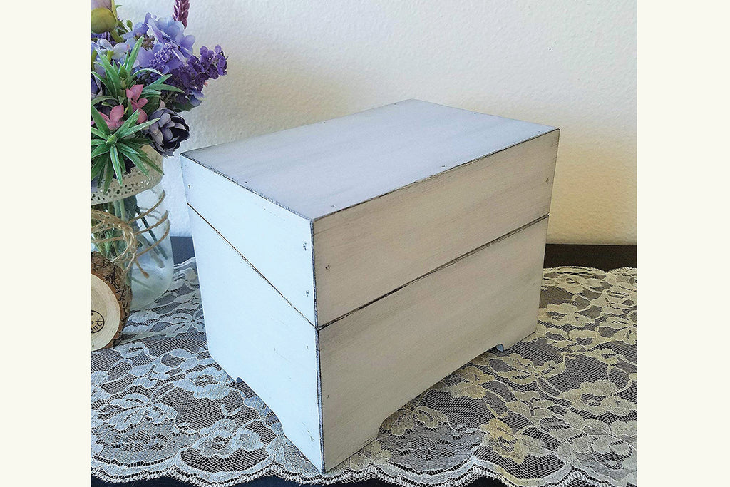 Wood Recipe Box - Vintage Style with Recipe Card Dividers, Personalized