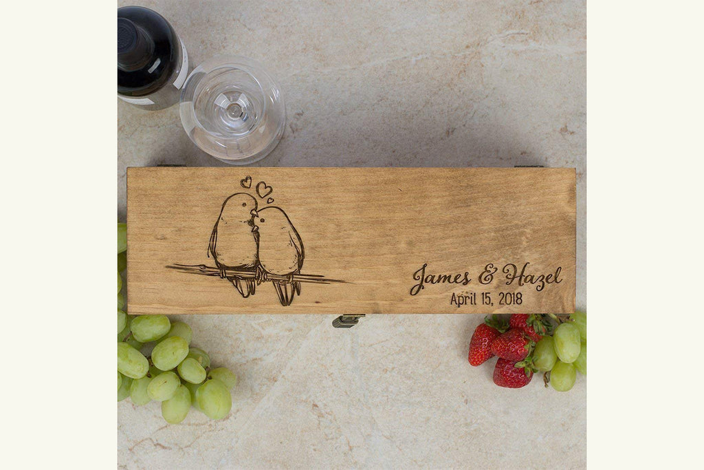 Engraved Wine Box - Love Birds - Personalized with First Names and Date