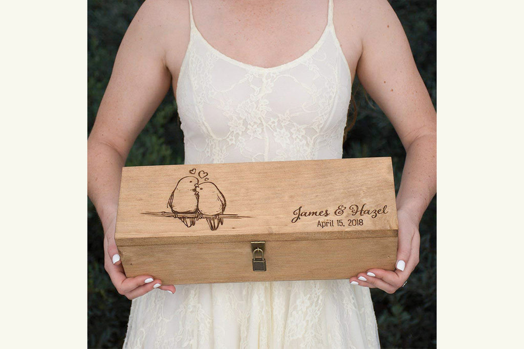 Personalized Engraved Wine Box - Love Birds - First Names and Date