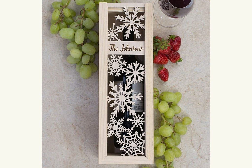 Personalized Engraved Holiday Wine Box - Snowflakes