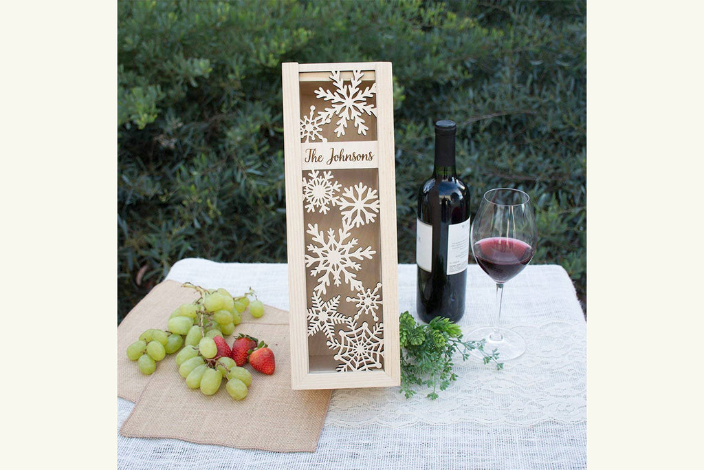 Engraved Personalized Holiday Wine Box - Snowflakes